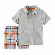 Carter's® 2-pc. Grey Polo and Shorts Set - Baby Boys newborn-24m