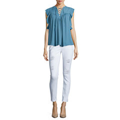 BELLE + SKY™ Ruffle Sleeve Lace Up Blouse or Destructed High-Rise Straight-Leg Skinny Jeans
