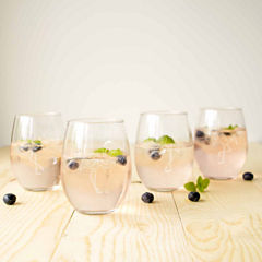 Cathy's Concepts Set of 4 Flamingo Stemless Wine Glasses