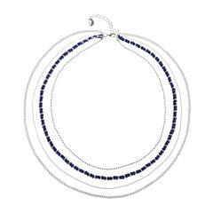 Liz Claiborne® Silver-Tone Multi-Layer Navy Necklace
