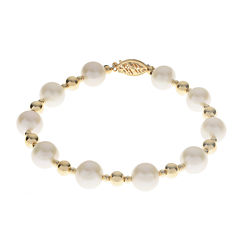 Cultured Freshwater Pearl 14K Gold Over Silver Bracelet