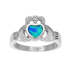 Genuine Blue Opal Sterling Silver Heart Claddagh Ring