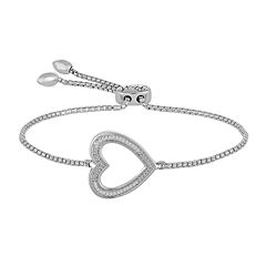 Rhythm and Muse Diamond Accent Sterling Silver Heart Bracelet
