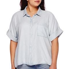 Boutique+ Short-Sleeve Denim Shirt - Plus