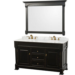 Andover 60 inch Double Bathroom Vanity; White Carrera Marble Countertop; Undermount Oval Sinks; and56 inch Mirror