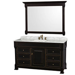 Andover 60 inch Single Bathroom Vanity; White Carrera Marble Countertop; Undermount Oval Sink; and 56 inch Mirror