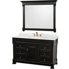 Andover 55 inch Single Bathroom Vanity; White Carrera Marble Countertop; Undermount Oval Sink; and 50 inch Mirror