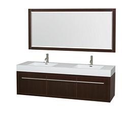 Axa 72 inch Double Bathroom Vanity; Acrylic ResinCountertop; Integrated Sinks; and 70 inch Mirror