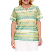 Alfred Dunner Bahama Bays Short Sleeve Split Crew Neck T-Shirt-Plus