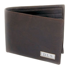 Leather Bi-fold Wallet with Engravable Plaque