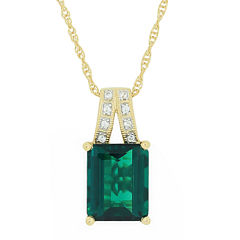 Lab-Created Emerald & Sapphire Pendant Necklace