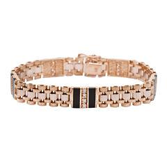 Mens 1/2 CT. T.W. Diamond & Onyx 14K Gold Link Bracelet