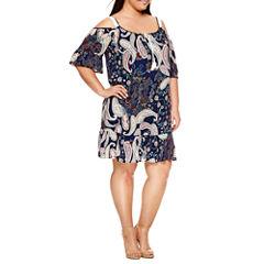 Alyx 3/4 Sleeve Cold Shoulder Sheath Dress-Plus