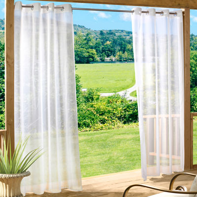 Lovely Escape Solid Grommet Top Outdoor Curtain Panel