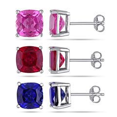 Womens 3 Pair Multi Color Sapphire Sterling Silver Jewelry Set