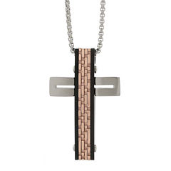 Mens Tri-Color Stainless Steel Textured Cross Pendant Necklace