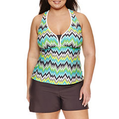 Zeroxposur Chevron Tankini Swimsuit Top or Swim Shorts-Plus