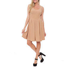 White Mark Crystal Sleeveless Fit & Flare Dress