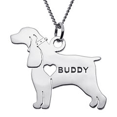 Personalized Cocker Spaniel Sterling Silver  Pendant Necklace