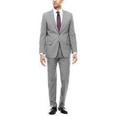 Claiborne® Light Gray Plaid Stretch Suit Separates - Classic Fit