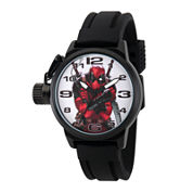 Marvel® Mens Deadpool White Dial Black Rubber Strap Watch