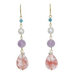 ROX by Alexa Mixed Gemstone Linear Drop Earrings