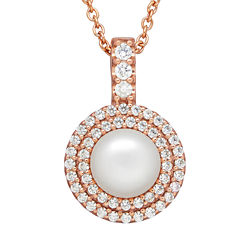 Certified Sofia™ Bridal Cultured Freshwater Pearl & Swarovski® Cubic Zirconia Pendant