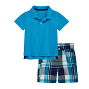 Arizona Short-Sleeve Pique Polo or Plaid Cargo Shorts - Baby Boys 3m-24m