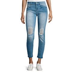 Indigo Rein Betran Rolled Cuff Destructed Skinny Jeans