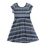 Youngland® Short-Sleeve Blue Chevron Skater Dress - Preschool Girls 4-6x