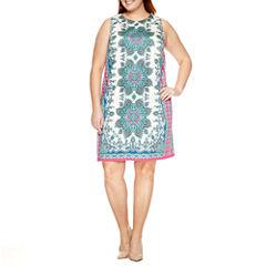 London Times Sleeveless Sheath Dress-Plus