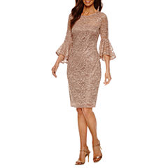 Blu Sage Long Sleeve Lace Sequin Sheath Dress-Petites