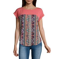 Rewind Short Sleeve Round Neck T-Shirt-Womens Juniors