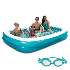 Blue Wave 3D Inflatable Rectangular Family Pool -103-in x 69-in