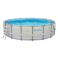 Summer Waves Elite 18-ft Round 52-in Deep Metal Frame Swimming Pool Package