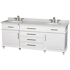 Berkeley 80 Inch Double Bathroom Vanity; White Carrera Marble Top With White Undermount Oval Sinks And No Mirror