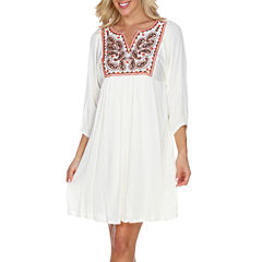 White Mark Marcella 3/4 Sleeve Sheath Dress