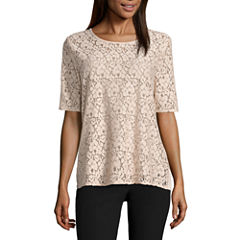 City Streets Elbow Sleeve Lace Front T-Shirt