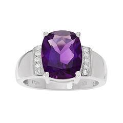 Genuine Purple Amethyst & White Topaz Sterling Silver Ring