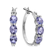 Journee Collection Diamond-Accent Genuine Tanzanite Sterling Silver Clip Earrings