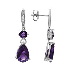 Genuine Amethyst White Topaz Sterling Silver Dangle Earrings
