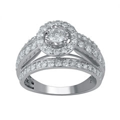 Womens 1 1/2 CT. T.W. Genuine Round White Diamond 14K Gold Engagement Ring