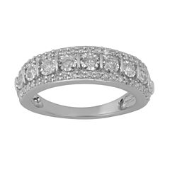 Womens 1/2 CT. T.W. Genuine Diamond Sterling Silver Band