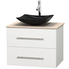 Centra 30 inch Single Bathroom Vanity; Ivory Marble Countertop; Arista Black Granite Sink; and No Mirror