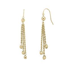 Infinite Gold™ 14K Yellow Gold Bead Station Lariat Earrings