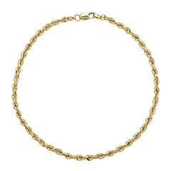 Infinite Gold™ 14K Yellow Gold Long Glitter Hollow Rope Chain Bracelet