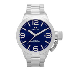 TW Steel Mens Silver Tone and Blue Canteen Bracelet Watch