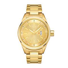 JBW Mens Gold Tone Diamond Accent Bracelet Watch