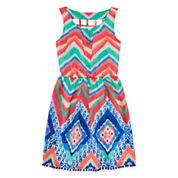 My Michelle® Sleeveless Skater Dress with Cage Back - Girls 7-16