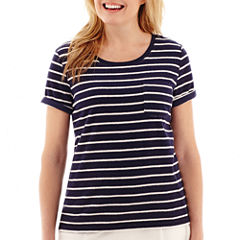 Silverwear Short-Sleeve Striped Pocket T-Shirt - Petite